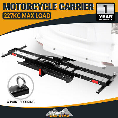 Steel Motorcycle Carrier Motorbike Rack 2 Arms 2″ Towbar Hitch Mount with Ramp