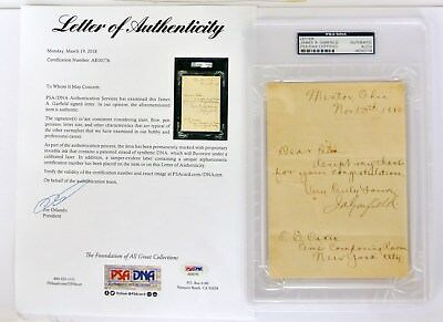 JAMES GARFIELD 20th President PSA/DNA Autograph 11DAYS AFTER ELECTED RARE LETTER
