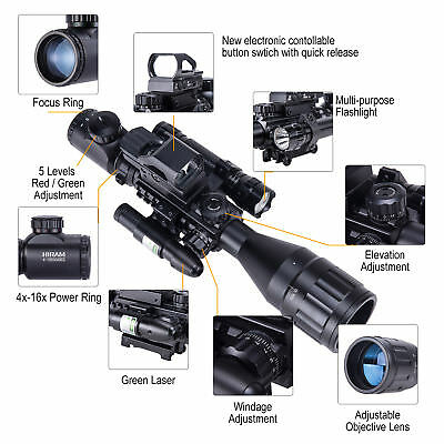 New Rifle Scope 4-16x50 EG w.Holographic 4 Reticle HD Sight & Green Laser Combo.