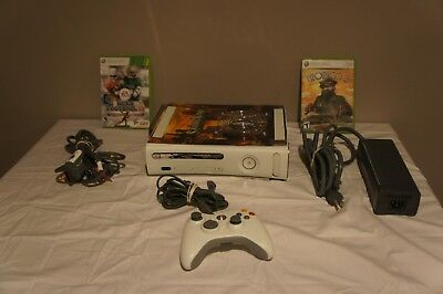 MICROSOFT XBOX 360 Launch Edition White Console with Fan Mod and 2 Games