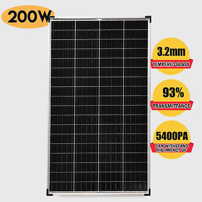 12V Solar Panel 200W Monocrystalline Caravan Boat Camping Battery Power Charge