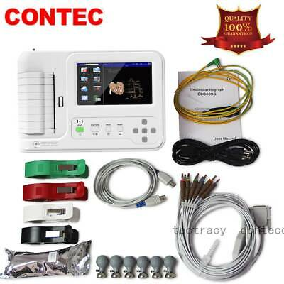 Digital 6 Channel 12 lead ECG/EKG machine,software Electrocardiograph,touch,CE