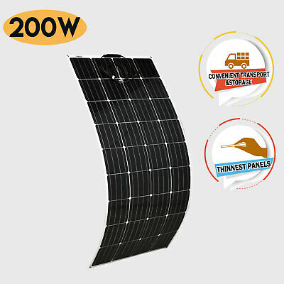 12V Flexible Solar Panel 200W Monocrystalline Caravan Camping Battery Charge