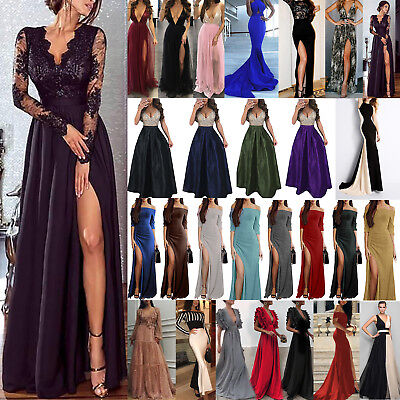 Womens Party Dress Evening Cocktail Formal Split Long Maxi Dresses Prom Size6-18