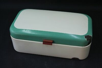 Beautiful Age Enamel Bread Box Email Lunch Box Art Deco