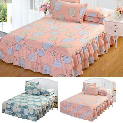 Elastic Ruffle Bed Skirt Valance Soft Cover Protector Fitted Sheet Queen Bed