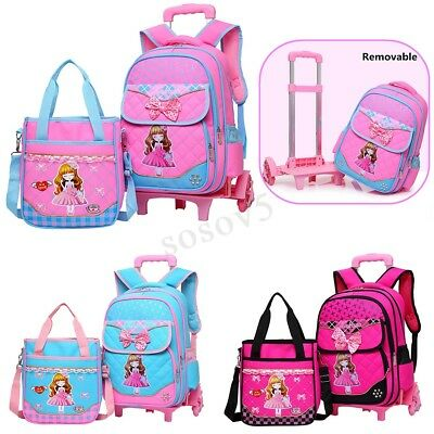 2PCS Girls Children Trolley Backpack Bowknot School Bag With Wheels Removable