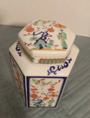"""Vintage Japanese Porcelain Tea Caddy with lid Hexagon 5.25""""x4"""" Hand Painted"""