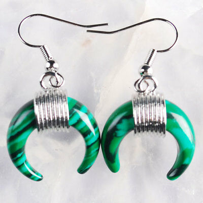 A04161 18x5 Pair K-Gold plated Copper Synthetic Malachite Crescent Moon Earrings