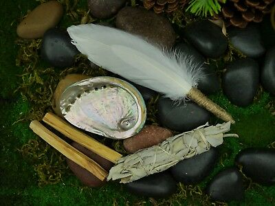 Smudging Kit  Feather Wand  Shell 9cm White Sage, Palo Santo Smudge