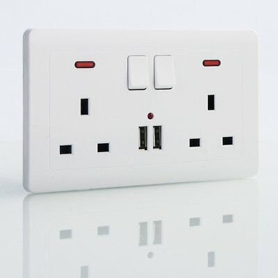 Double Wall Plug Power Socket 2 Gang Dual USB Charger Ports UK Plugs 2 Switch