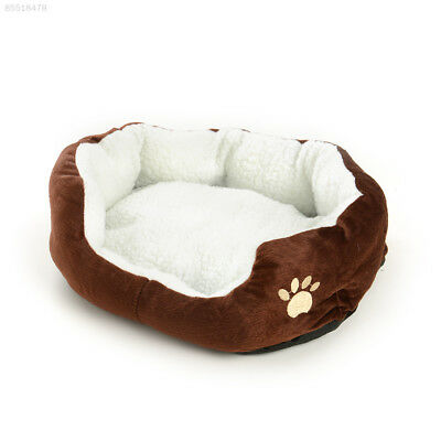 F7FB Pet Dog Cat Kitten Soft Fleece Bed Kennel Cozy Nest Medium Washable Coffee