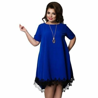 Women Plus Size Patchwork Tassel Decorated Half Sleeve Knee Length Dress R371