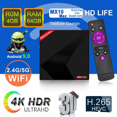 2019 MX10 MAX TV Box 4GB 64GB 2.4G 5.8G WIFI Bluetooth Android 9.0 Quad Core 4k