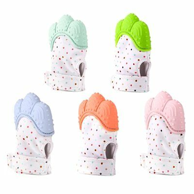 Safe Silicone Baby Mitten Teething Glove Candy Wrapper Sound Teether Nursing