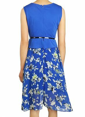 Women Solid Color O-neck Sleeveless Belted Polka Dot Floral Print Tunic Dress