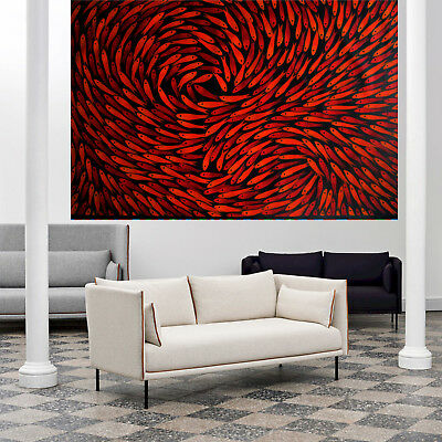 Fish  Art oil Painting By Jane Australia red black  abstract 200cm x 160cm