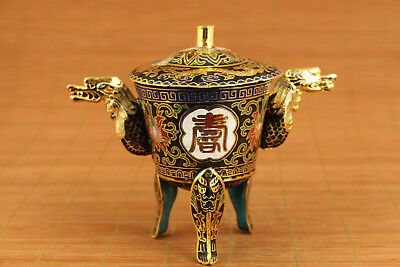 chinese old colour enamels cloisonne dragon statuer cup