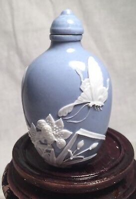 Signed Antique Qing Dynasty Chinese Porcelain Snuff Bottle, Butterfly Decoration