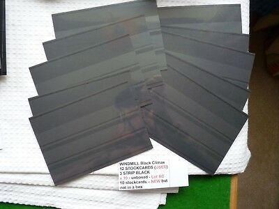 WINDMILL Black Climax 12 STOCKCARDS (NEW) 3 STRIP BLACK x 10 (ten card)- unboxed