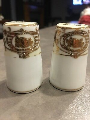 Antique Porcelain Hand Painted Salt and Pepper Shakers Gold Gilt Beaded Moriage