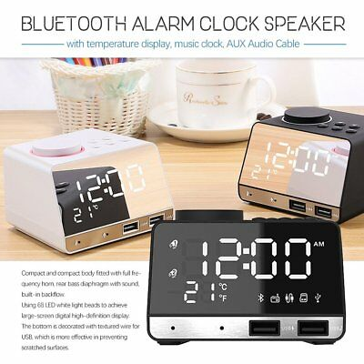 New USB Interface Clock K11 Bluetooth Alarm Clock Speaker Dual Display Radio T3