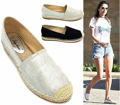 4be28e95ad2 Ladies Slip On Espadrilles New Skater Beach Walking Trainers Casual Pumps  Shoes