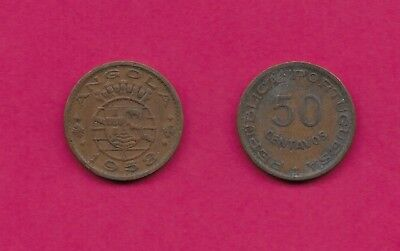 Angola Portuguese Colony 50 Centavos 1958 Xf Five Crowns Above Arms,date Below,