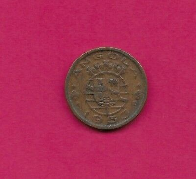 Angola Portuguese Colony 50 Centavos 1953 Xf Five Crowns Above Arms,date Below,