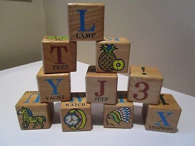 10 Vintage Childs Wood Alphabet Blocks LG Play Blocks Pictures Numbers Letters