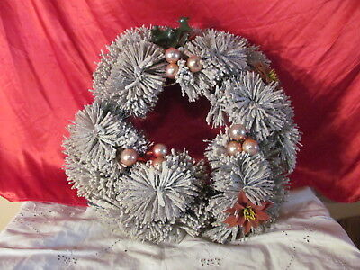 Vintage Snow Covered Christmas Wreath Glass Balls  Consolidated Novelty Co