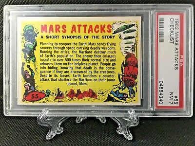 1962 Mars Attacks CHECKLIST #55 Grade 7 NEAR MINT & NO RESERVE - Topps garno PSA