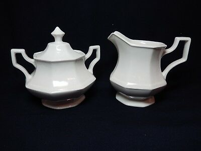 Sugar w/lid and Creamer Johnson Brothers Heritage White Octagonal  EXC Mint
