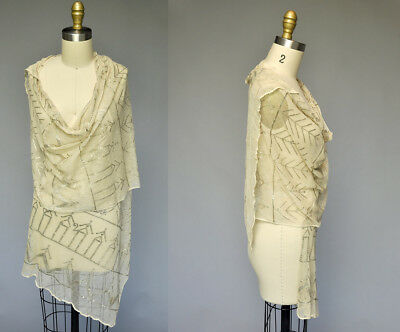 VTG Vintage 20s 1920s Egyptian Revival Assuit Fabric Shawl Wrap Silver Cream