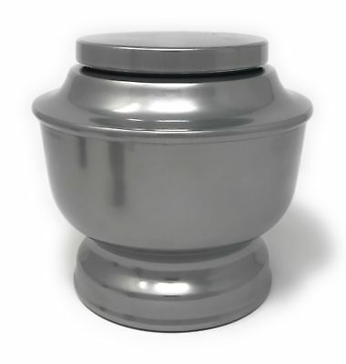 Classic Aluminum Funeral Cremation Urn for human Ashes, Adult (Silver)