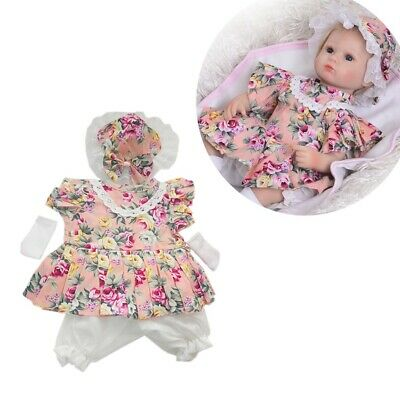 17-18inch Reborn Doll Baby Girl Clothes Floral Dress Pants Hat Socks/Shoes