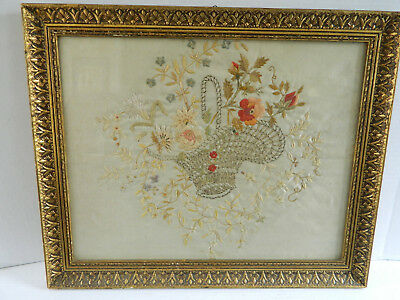 Antique Needlework On Silk Basket Of Flowers