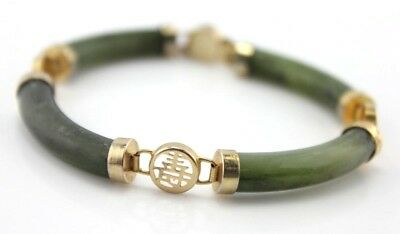 Oriental Curved Green Jade Bracelet Chinese Symbol Safety Chain- Nr #4004-8