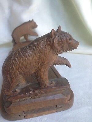 Antique Vintage Black Forest Bear Extending Sliding Book Stand