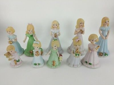 1981 Enesco growing up birthday girl's porcelain doll set ages 1 through 10 mint