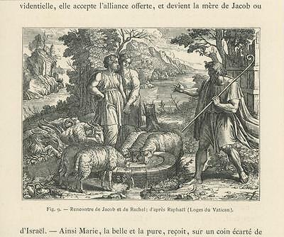 Antique Biblical Sheep Drinking Shepherd Meeting Of Jacob Rachel Small Old Print