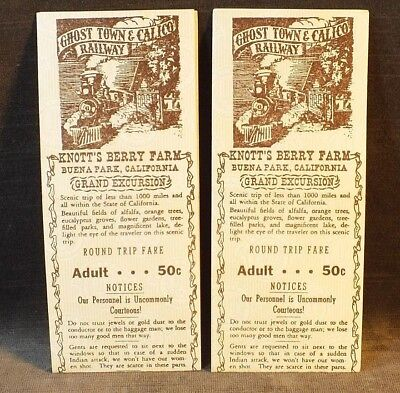 2 1950s Knotts Berry Farm Ghost Town Calico Railroad Tickets Z39