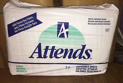 VINTAGE RARE ATTENDS Disposable Diapers Briefs Size Large 24 Pack
