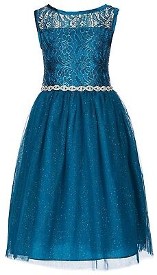 4e547867b37 RARE EDITIONS BIG Girl s Teal Foil Lace Ballerina Fancy Dress-Size-8 ...