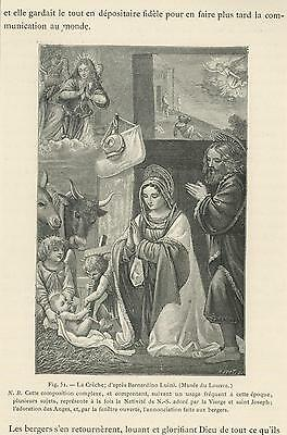 Antique Holy Family Angels Jesus Mary Joseph Angels Cow Shepherds Small Print