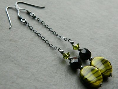 Vintage Green & Black Striped Glass Beads, French Jet & Oxidised Silver Earrings