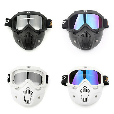 Racing Detachable Motorcycle Helmet Protective Face Mask Shield Goggles