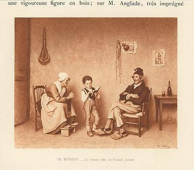 Antique School Lesson Boy Child With Grandmother Grandfather Miniature Print