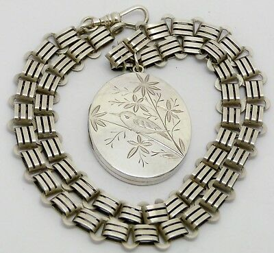 Beautiful Rare Victorian Solid Silver Aesthetic Movement Locket & Ornate Chain