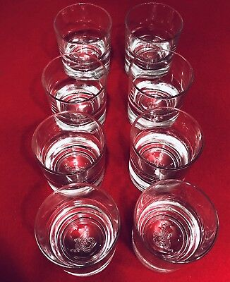 Crown Royal Highball Glasses 8 EXCELLENT Embossed Heavy Bottom Drink